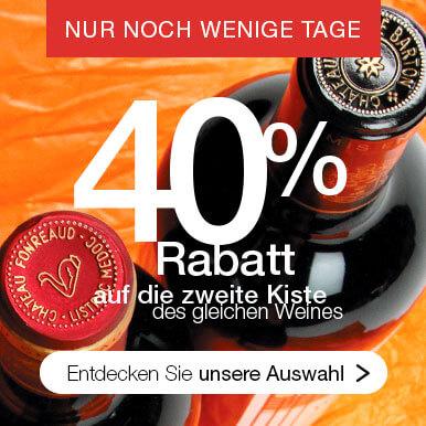 Sie erhalten 40% Nachlass auf die zweite gekaufte Kiste eines Weines